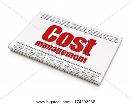 Finance concept: newspaper headline Cost Management on White background, 3D rendering