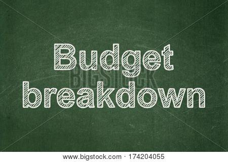 Finance concept: text Budget Breakdown on Green chalkboard background