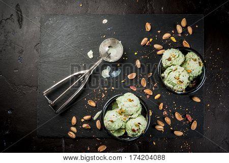 Pistachio Ice Cream Sprinkled With Nuts