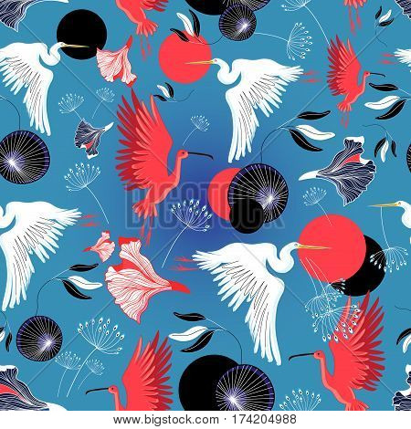 Seamless pattern of herons and ibis on a blue background