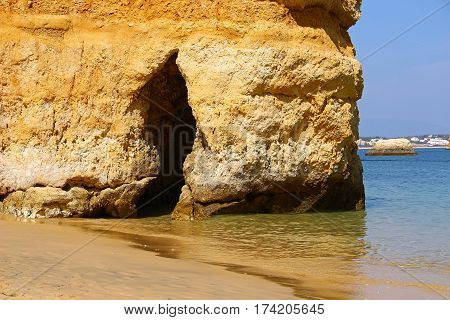 Grotto on Camilo beach (Praia do Camilo) in Lagos, Algarve, Portugal