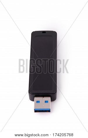 USB memory stick isolated on white. Photo with clipping path