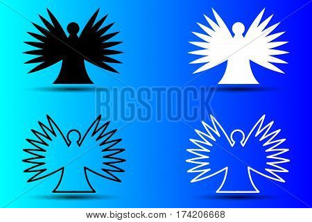 angel silhouette vector illustration , angel ,