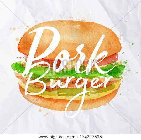 Burger pork with ingridients of soft bun pulled pork pickles onions tomatoes salad BBQ naked drawing with color paint on crumpled paper background.