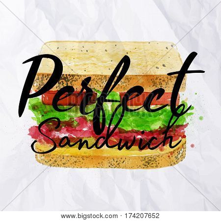 Sandwich with ingredients of bloomer bread cereals roast beef pickles onions tomatoes salad home made tartar drawing with color paint on crumpled paper background.