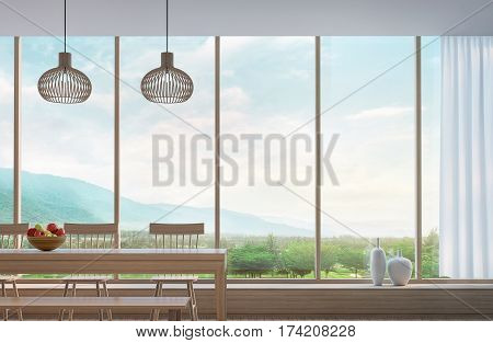 Modern dining room with mountain view 3d rendering Image. Decorated room with wood. There are large window overlooking the surrounding nature and mountains