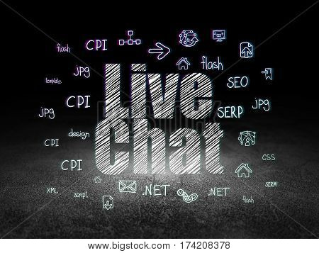 Web development concept: Glowing text Live Chat,  Hand Drawn Site Development Icons in grunge dark room with Dirty Floor, black background