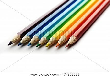 Colored Pencils Arranged In Rainbow Spectrum Order