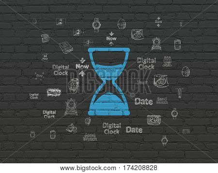 Time concept: Painted blue Hourglass icon on Black Brick wall background with  Hand Drawing Time Icons