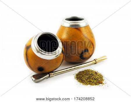 Two yerba mate gourds isolated on white