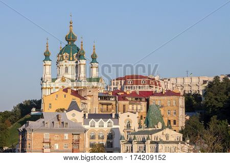 Saint Andrew Church in Kiev Ukraine seen from the bottom of the hill of the same name The Saint Andrew's Church is a major Baroque church located in Kiev the capital of Ukraine.