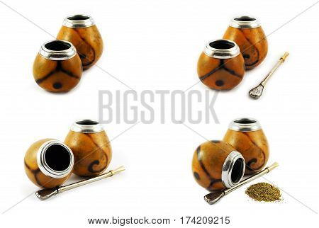 Yerba mate gourds isolated on white. Set of four pictures.