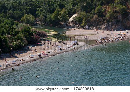 Olympos, Turkey - July 20, 2010: Olympos beach and Olympos ancient city are in Antalya, Turkey