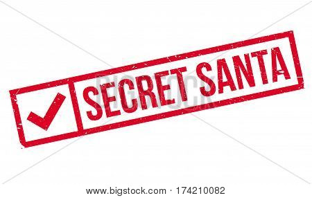 Secret Santa rubber stamp. Grunge design with dust scratches. Effects can be easily removed for a clean, crisp look. Color is easily changed.
