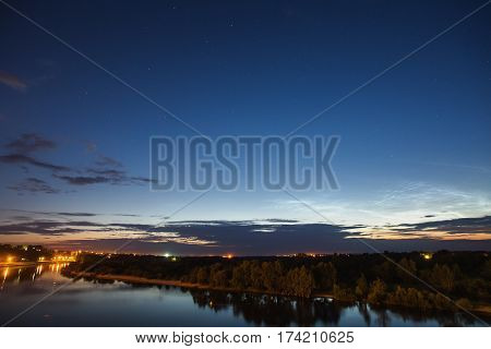 Beautiful night starry landscape. Astrophotography. Clear starry sky. Slow shutter speed. The spectacular starry sky. Scenic view. Water surface. Noctilucent clouds.