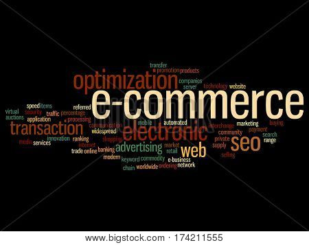 Concept or conceptual E-commerce electronic sales abstract word cloud isolated on background