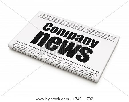 News concept: newspaper headline Company News on White background, 3D rendering