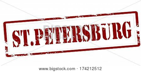 Stamp with word St Petersburg inside vector illustration