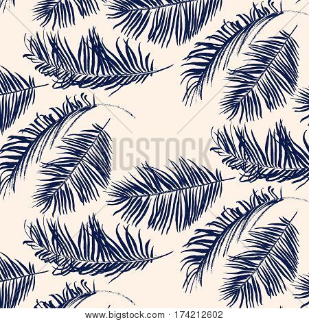 Navy blue palm leaves pattern on pink background