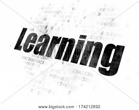 Learning concept: Pixelated black text Learning on Digital background