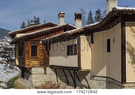 A residential district of authentic old and new bulgarian houses in town Koprivshtitsa, Bulgaria