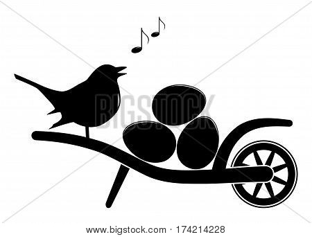 vector wheel barrow with eggs and singing bird isolated on white background