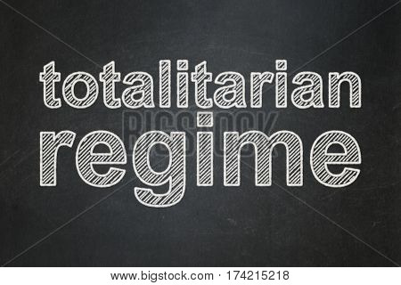 Political concept: text Totalitarian Regime on Black chalkboard background