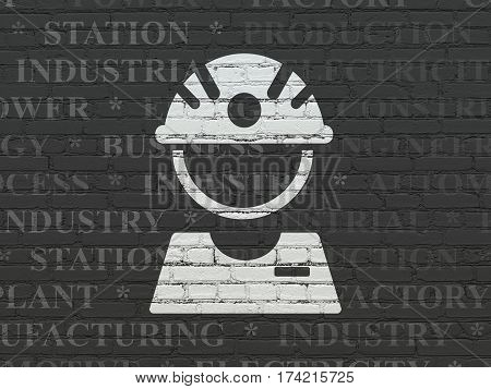 Industry concept: Painted white Factory Worker icon on Black Brick wall background with  Tag Cloud