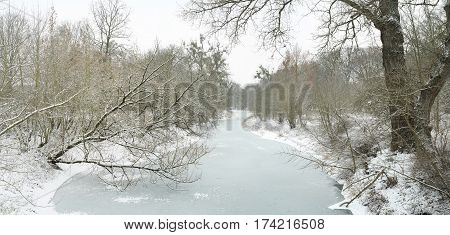 Winter landscape in the city park of Magdeburg