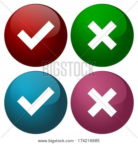 A set of four web buttons, green check mark and red cross in two variants