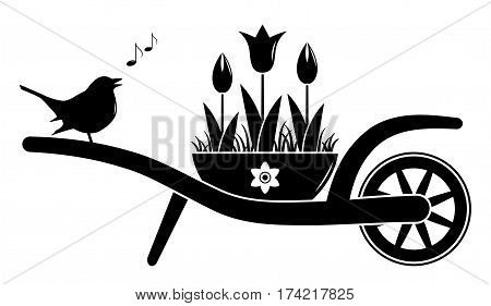 vector wheel barrow and tulips in pot and singing bird isolated on white background
