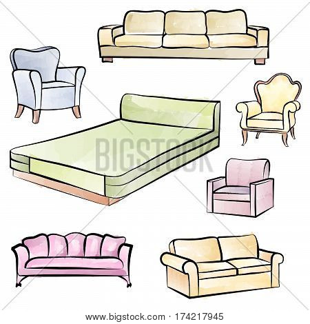 Furniture set. Interior detail isolated color outline collection: bed sofa settee armchair.