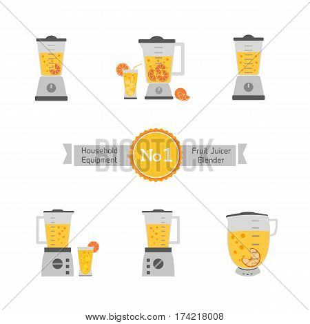 Kitchen equipment set isolated on white. Electric juice blender. Home food processor juicer machine. Flat style vector. Design element fresh drink kitchenware appliance advertisement background banner