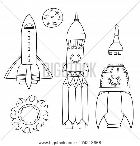 Card with space objects: rockets, the moon and the sun. Hand-drawn elements in space theme