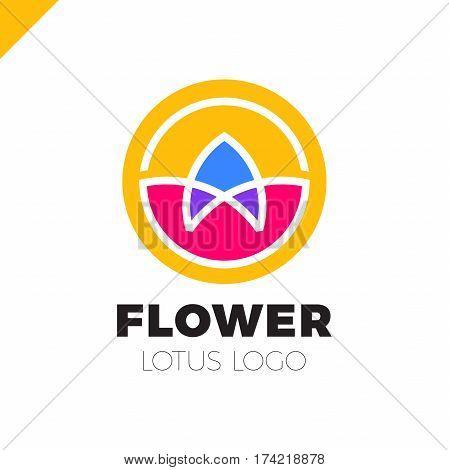 Flower Logo Circle Abstract Design Vector Template. Lotus Spa Icon...cosmetics Hotel Garden Beauty S