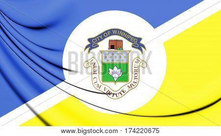 3D Flag Of Winnipeg, Canada. 3D Illustration.