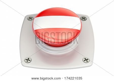 Austria flag push button 3D rendering  isolated on white background