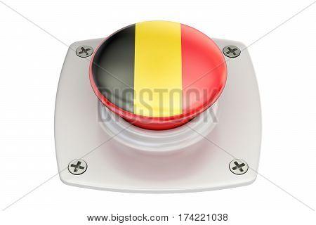 Belgium flag push button 3D rendering on white