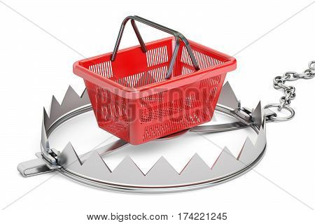 trap with shopping basket 3D rendering isolated on white background