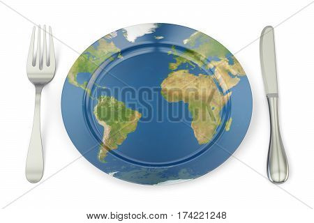 World Map on a plate with fork and knife. International cuisine concept 3D rendering isolated on white background