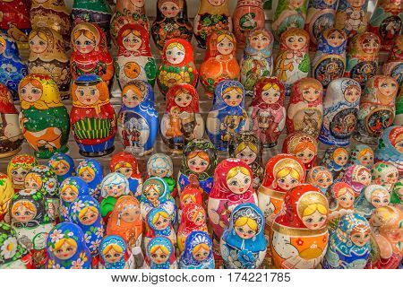 Collection of russian traditional souvenirs on marketplace. Russian nesting doll named babushka doll or matryoshka