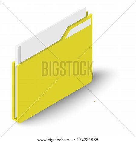 Folder icon. Isometric illustration of folder vector icon for web