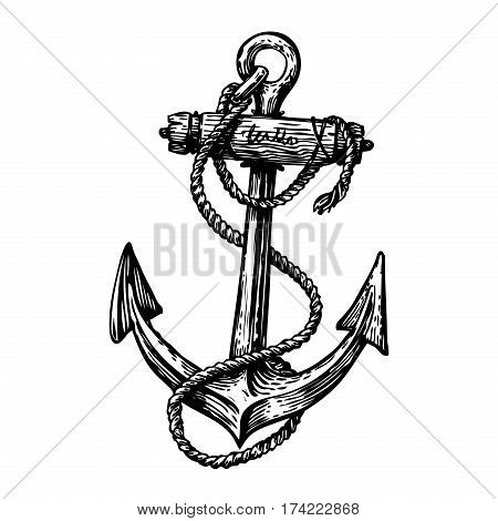 Hand-drawn vintage anchor with rope, sketch. Travel, discovery, cruise symbol. Vector illustration isolated on white background