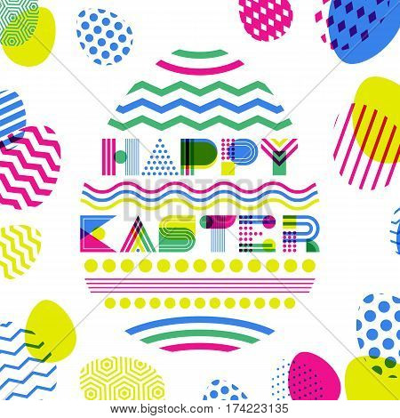 Happy Easter Vector Greeting Card, Banner Or Poster Design Template. Geometric Lettering In Egg Shap