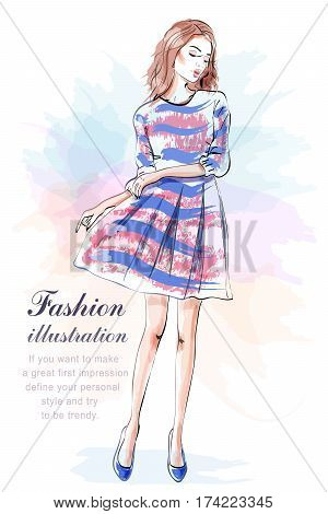 Cute stylish young girl in dress. Hand drawn beautiful woman in fashion clothes. Sketch. Vector illustration.