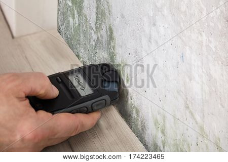 Person Hand Measuring The Wetness Off A Moldy Wall