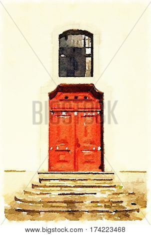 Digital watercolor painting of traditional red doors with a window above and stone steps leading up to the doors in Lisbon Portugal. With space for text.