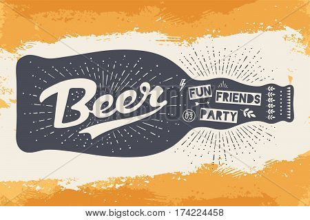 Bottle of beer with hand drawn lettering and text Beer Here for sign of Oktoberfest Beer Festival. Vintage drawing for bar, pub, beer themes. Sign with lettering on yellow background. Vector Illustration