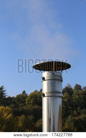 Chimney Steel With Polluting Smoke Coming Out