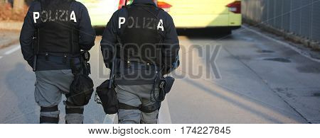 Italian Cops With The Words Polizia That Means Police In Italian
